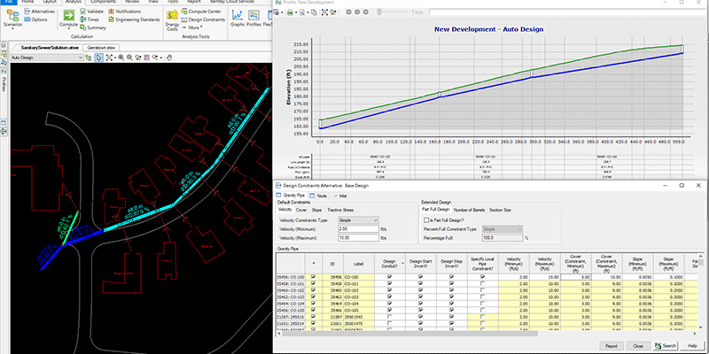 SewerGEMS Automated constraint based design for pipes nodes and inlets