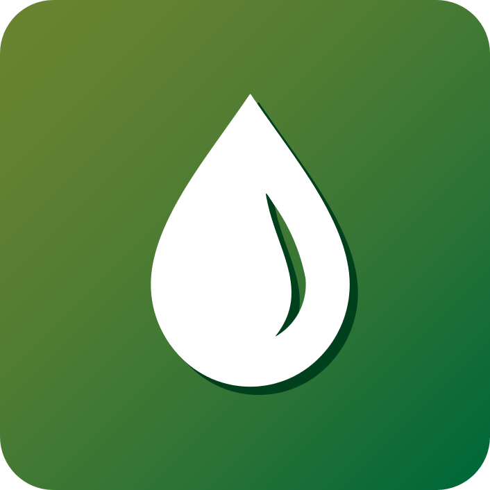 gradient green icon of water droplet